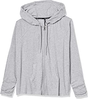 Women's Premium Performance Ruched Long Sleeve Zip Up Hoodie (Standard and Plus), Pearl Grey Heather, Small