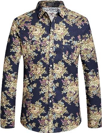 SSLR Camisa Estampado Floral Manga Larga Casual de Algodón para Hombre