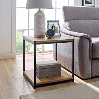 Tall Side End Table by CAFFOZ Furniture Designs  Brooklyn Series   Night Stand   Coffee Table  Storage Shelf   Sturdy   Easy Assembly   Brown Oak Wood Look Accent Furniture with Metal Frame