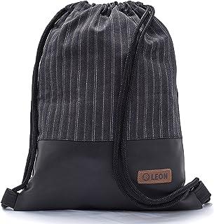 By Bers LEON Turnbeutel mit Innentaschen einfarbiges Design Rucksack Tasche Damen Herren & Teenager Gym Bag Hipster liniegrau_schwarz