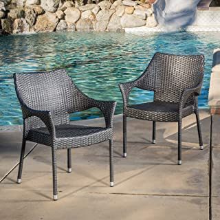 Alameda   Outdoor Wicker Chairs   Set of 2   Perfect For Patio   in Grey