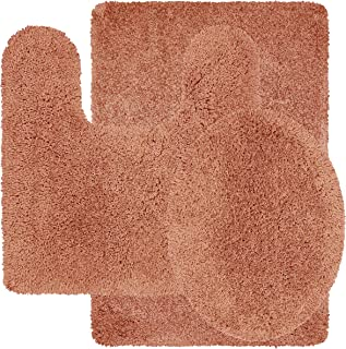 Better Homes and Gardens Nylon Thick and Plush 3-Piece Terracotta Bath Rug Set, Set Includes 17
