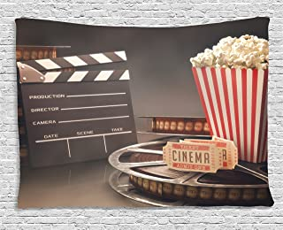 Ambesonne Movie Theater Tapestry, Old Fashion Entertainment Objects Related to Cinema Film Reel Motion Picture, Wide Wall Hanging for Bedroom Living Room Dorm, 80