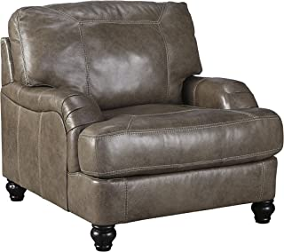 Ashley Furniture Signature Design - Kannerdy Contemporary Faux Leather Sloped Arm Accent Chair - Quarry Brown
