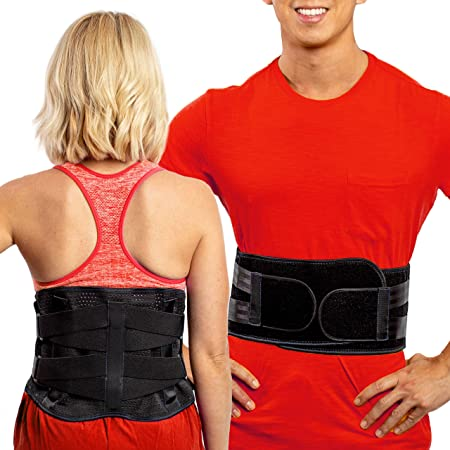 FlexGuard Support Lower Back Support Belt – (XL) Lumbar Brace w/Pockets for Heat and Ice Packs - Compression Belts for Herniated Discs & Strained Muscles – Black