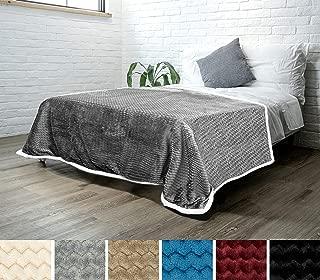 PAVILIA Premium Chevron Sherpa Blanket Twin Size | Soft Reversible Grey Fleece Blanket Throw | Plush, Fuzzy Throw for Bed, TV Blanket| Lightweight Microfiber, 60x80 Inches