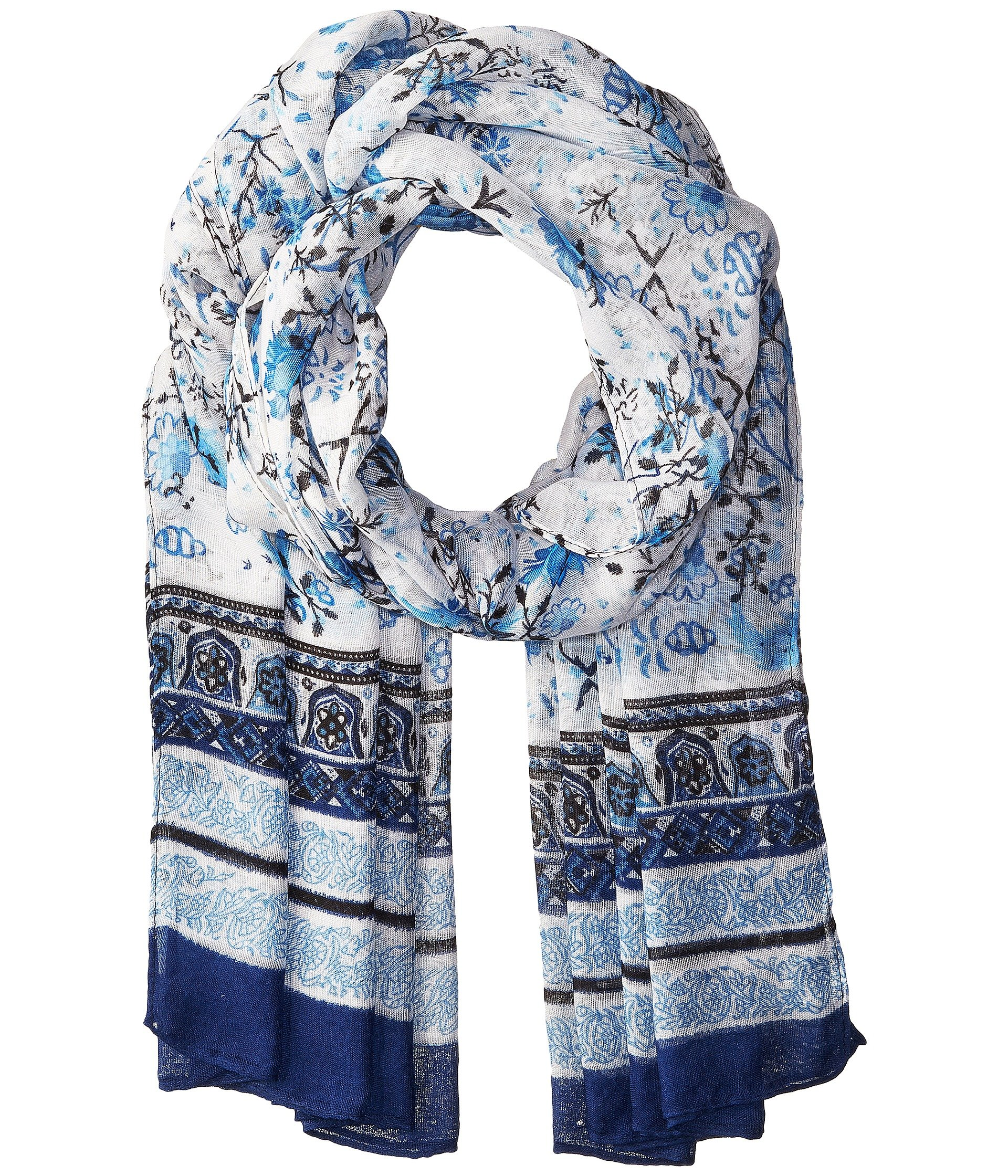 Bindya Floral Scarf with Border