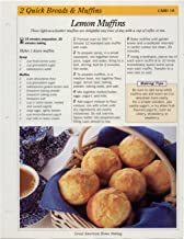 Great American Home Baking Recipe Card: 2 Quick Bread & Muffins - Card 18 Lemon Muffins (Replacement Page or Recipe Card For 3-Ring Binders)