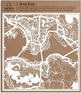 O3 DESIGN STUDIO Hong Kong Paper Cut Map White 12x12 inches Paper Art