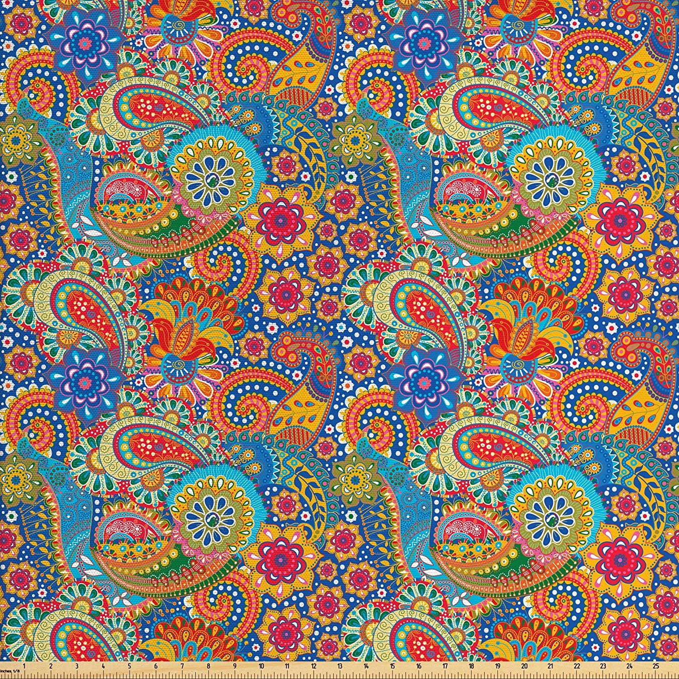 Lunarable Asian Fabric by The Yard, Colorful Paisley Floral Pattern Classical Ornamental Medieval Ancient Ethnic Art, Decorative Fabric for Upholstery and Home Accents, 1 Yard, Multicolor