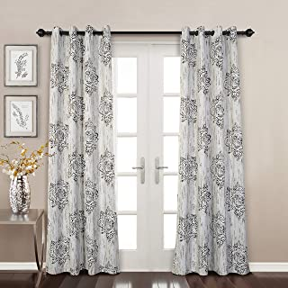 MYSKY HOME Dahlia Flower Damask Style Fashion Design Print Thermal Insulated Blackout Curtain with Grommet Top for Bedroom, 52 by 84 inch, Cafe - 1 Panel
