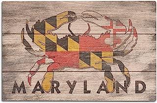 Lantern Press Maryland - Rustic State Flag - Crab (10x15 Wood Wall Sign, Wall Decor Ready to Hang)