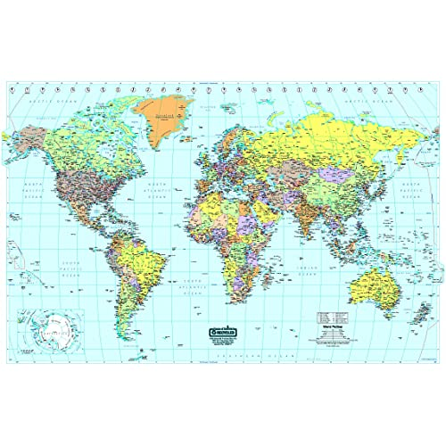 World Map with Time Zones: Amazon.com
