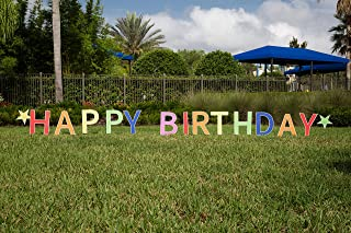 Happy Birthday Yard Signs with Stakes Plus Bonus Storage Bag by Ned & Gracie; Multi-Color Lawn Birthday Decoration to Surprise Men, Women and Kids; Large and Colorful Outdoor Birthday Party Décor