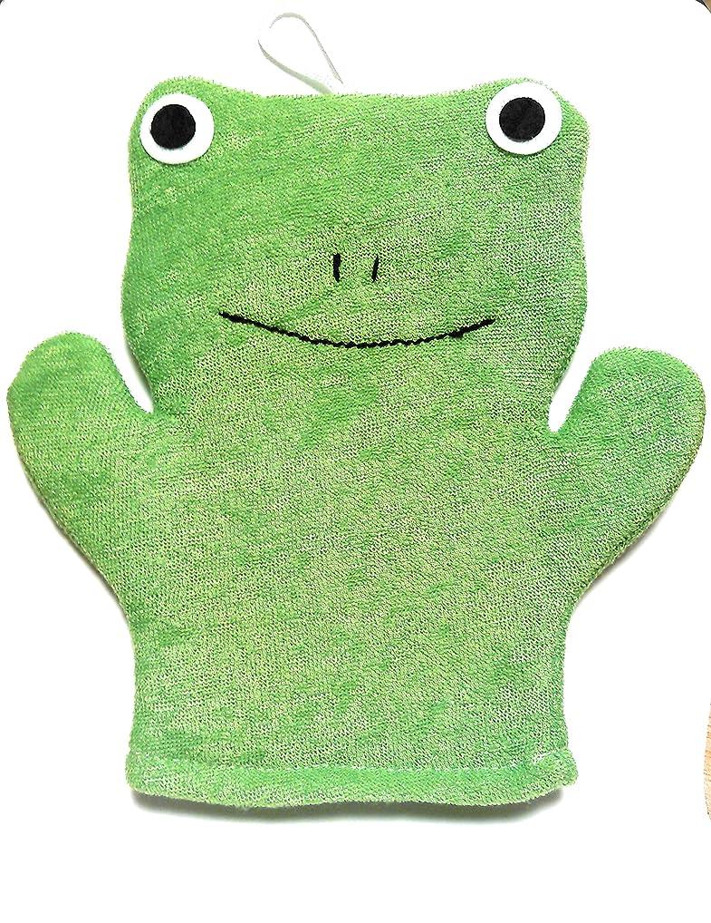 障害矛盾する対立アニマル ウォッシュ ミトン お風呂が楽しみ? 手にはめて洗えるタイプのボディスポンジ (かえる)