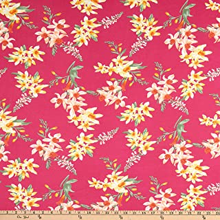 Jersey knit fabric by the yard red and yellow floral on white