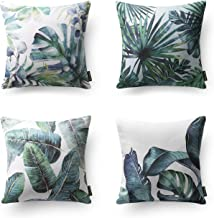 Phantoscope Set of 4 Tropical Green Leaves Throw Pillow Case Cushion Cover 18 x 18 inche 45 x 45 cm