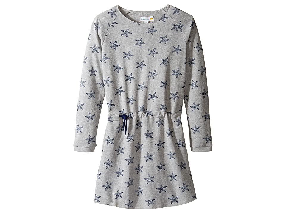 C&C California Kids Fleece Dress (Little Kids/Big Kids) (Star Print Light Grey Heather) Girl