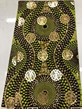 Wholesale African Print Fabric African Ankara Wax Print Wax Fabric 6 Yards- 100% Cotton Dresses for Women & Men -Olive, Avocado Green, Black, Metallic Gold