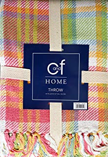 Throw Blanket 100% Cotton, Woven Plaid Pattern in Shades of Pink Orange Green Blue White with Tassels, Palm Plaid, C&F Home