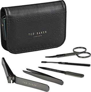 Ted Baker Men's Stainless Steel Manicure Brogue Monkian Kit With Faux Leather Travel and Storage Case, Black