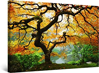 Startonight fotoluminiscente lienzo, Cuadro en Lienzo, pinturas murales, Decoración, arce del otoño 60 cm x 90 cm