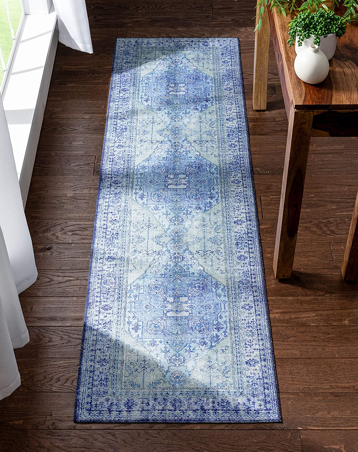 Well Woven Overdyed It is very popular Helode Year-end annual account Machine Blue Orienta Washable Vintage