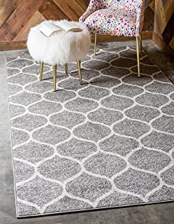 Unique Loom Trellis Frieze Collection Lattice Moroccan Geometric Modern Light Gray Area Rug (5' 0 x 8' 0)