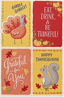 American Greetings Mini Thanksgiving Cards, Fall Imagery and Animals (24-Count)