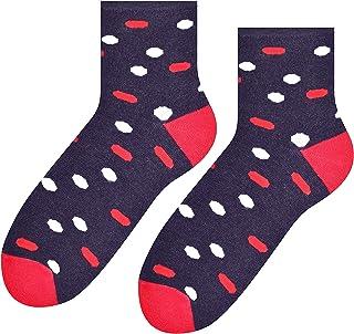 Steven, Tobilleras calcetines de algodón de las mujeres en patrones, excelente elección, Blanco con tira gris claro melange EU35-37/UK2-4