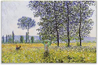 Monet Wall Art Collection Sunlight Effect Under The Poplars, 1887 Canvas Prints Wrapped Gallery Wall Art | Stretched and Framed Ready to Hang 24X32,