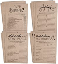 Bridal Shower Bachelorette Games, Rustic Kraft, Word Match, What Did The Groom Say, Over and Under, Wedding Alphabet, 25 games each