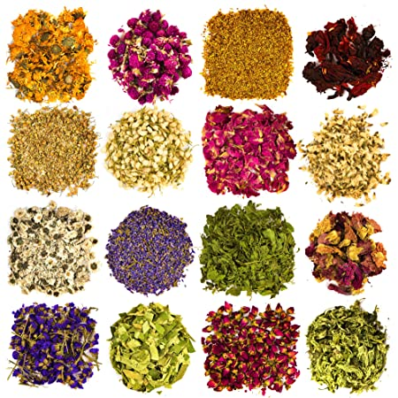 Dried Flowers and Herbs Accessories Decorations -16 Bags Set Dry Flowers Essential Supplies Rose Buds Lavender Chamomile Jasmine Scents for Flower Arrangements Crafts Bath Candle Soap Lip Gloss Making