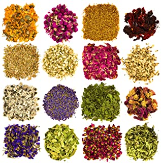 Dried Flowers and Herbs Accessories Decorations -16 Bags Set Dry Flowers Essential Supplies Rose Buds Lavender Chamomile J...