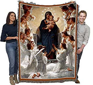 Pure Country Weavers Virgin Mary with Angels Woven Large Soft Comforting Throw Blanket Cotton USA 72x54