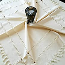 "Secret Sea Collection Antique Handmade Cotton Square Tablecloth Decorated with Wooden Beads (53"" X 53"")"