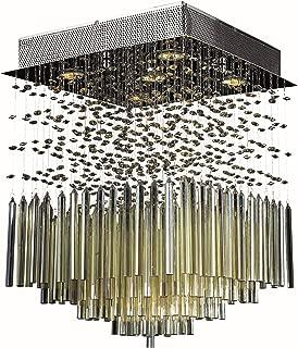 Worldwide Lighting Torrent Collection 5 Light Chrome Finish and Golden Teak Crystal Flush Mount Ceiling Light 16