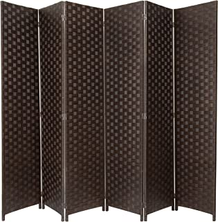 MyGift Large Woven Paper Rattan 6-Panel Room Divider with Two-Way Hinges, Brown