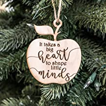 Ornament - It Takes a Big Heart to Shape Little Minds - Raw Wood 3x3in