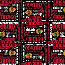 Chicago Blackhawks Cotton Fabric with Allover Design and Writing-Sold by The Yard