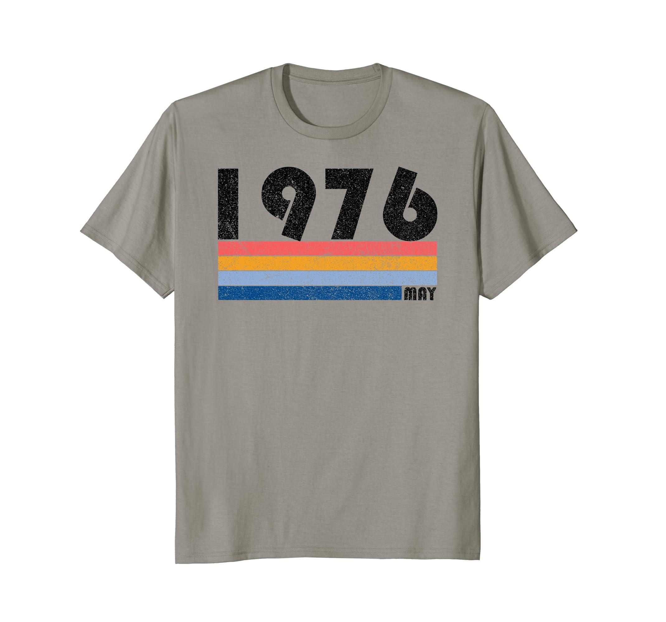 42nd Birthday Gift Retro Born in May of 1976 T Shirt-Awarplus