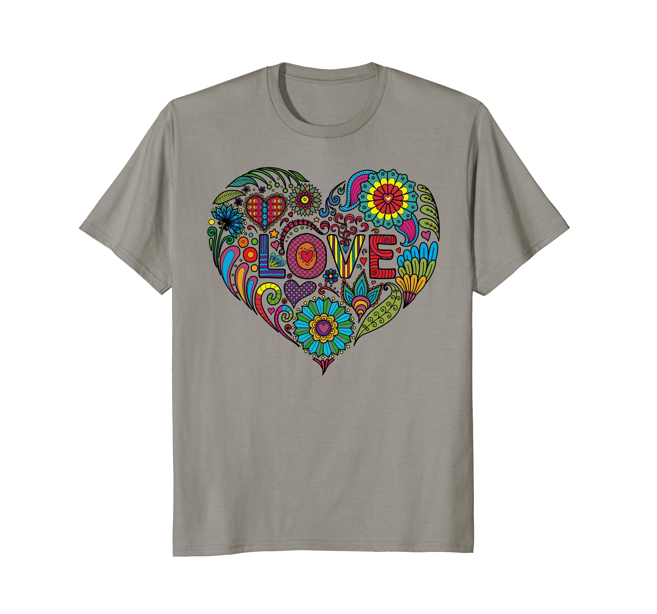 Amazon com love heart coloring book doodle whimsical t shirt clothing