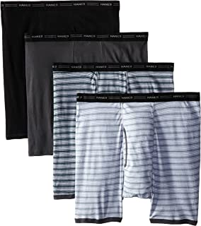 Hanes Men's 4-Pack Big No Ride Up Striped Boxer Briefs