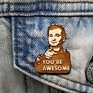 You're Awesome Lapel Pin | You're Awesome Wood Hat Pin | Hand-Painted Wooden Brooch