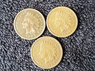 1905 1906 1907 Indian Head Pennys Three Consecutive Years All Good or Better Penny Good+