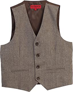 Boy's Tweed Plaid Formal Suit Vest