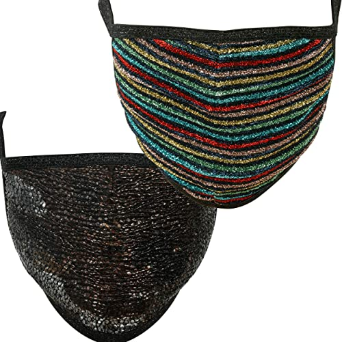popular Fashion Cover Textured/Rainbow Glitters Cloth Face Mask for Women, Washable, Breathable - Elastic Glitter Straps - Made new arrival in sale USA - Pack of 2 online