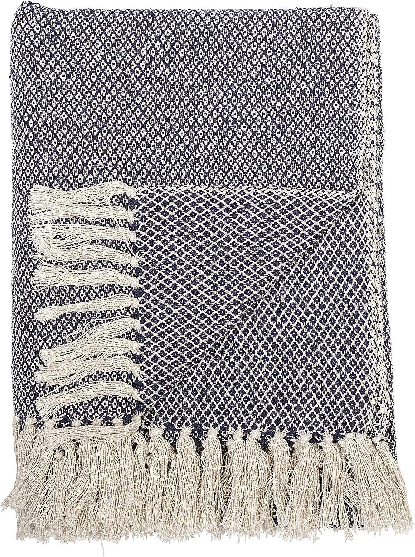 Bloomingville Decke grau 160x130cm gemustert mit Fransen Tagesdecke Kuscheldecke