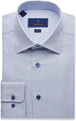 Trim Fit Two Tone Mini Basketweave Dress Shirt