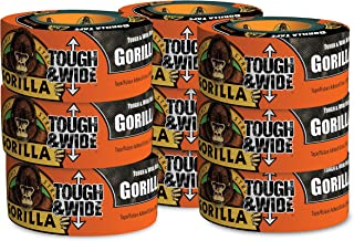 "Gorilla Black Tough & Wide Duct Tape, 2.88"" x 30 yd, Black, (Pack of 9)"